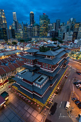 Buddha Tooth Relic Temple I (Alec Lux) Tags: singapore architecture asia blue bluehour buddha building buildings cars chinatown city cityscape colorful colors exterior lights lines museum night nightscape old orient oriental outdoor outside park parking red relic skyscraper structure temple tooth urban sg