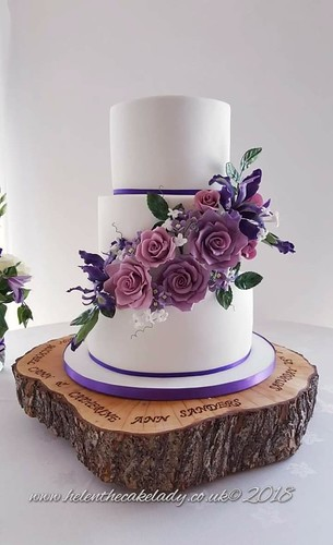 Purple Theme Wedding Cake With Sugar Flower Roses And Iris A Photo