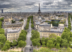 Paris (Jan Kranendonk) Tags: paris france french europe traffic cityscape sky clouds cloudy travel cars buildings urban city people overhead roofs view trees eifeltower tower landmark hdr eifel