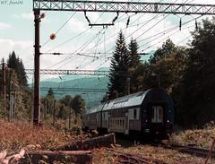 Fading into the mountains (WT_fan06) Tags: forest trees railways rails railroads tracks wires nature orange warm blue trainspotting trains photography nikon d3400 dslr