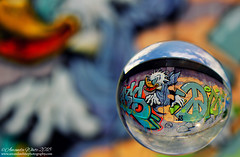 Graffiti Ball 1 (sminky_pinky100 (In and Out)) Tags: graffiti lensball lensballphotography dartmouth novascotia refraction colourful galssball crystalball glass sphere art abstract atlanticcanada maritimeprovinces atlanticprovinces outside omot cas2s