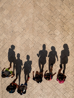 3 boys, 3 girls, 6 shadows