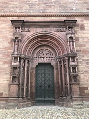 Basel Cathedral - Basel, Switzerland (firehouse.ie) Tags: baselstadt houseofworship religion worship christianity christian churches church cathedrals munsterplatz europe city carvings old ornate doorways doorway doors door switzerland cathedral basel