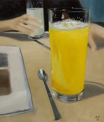 Jus d'orange au Bolbu - Toulouse - oil on paper - 24x33cm (damiencarquillat) Tags: still life oil paiting carquillat orange juice glass bolbu