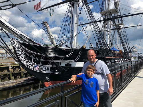 Father and son at USS Constitution, Boston MA