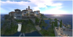 You May Have The Universe (Loegan Magic) Tags: secondlife olditaly village hillside houses buildings ocean sea sunsetwaterfall boats sky
