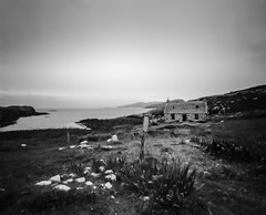 What's Inside (gerainte1) Tags: barra hebrides scotland blackandwhite sea sky house coast acros100 film pinhole