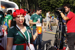 I loved her lipstick and her flower band (OlmecaG) Tags: worldcup russia2018 worldcup2018 football fans sport stadium people
