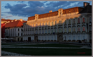 sunset light over the Baroque Palace in Timisoara