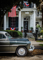 Time travel (Rabican7-AWAY) Tags: neworleans gardendistrict traveling old classic architecture chevroletdeluxe chevydeluxe chevy rust decay car vehicle lousiana nola urban city town residential neighborhood mansion flag red