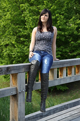 Chrissi 26 (The Booted Cat) Tags: sexy teen girl model tight blue jeans denim boots overkneeboots heels highheels brunette hair