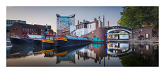 Gas Street Basin Panorama (Dave Fieldhouse Photography) Tags: birmingham canal canalboat thecube gasstreetbasin morning sunrise panorama stitchedpanorama reflections reflection buildings bridge barge boat waterways sky tree hotel marcopierrewhite towpath skyline city cityscape urban architecture modernarchitecture fuji fujixt2 fujifilm wwwdavefieldhousephotographycom calm clear uk england