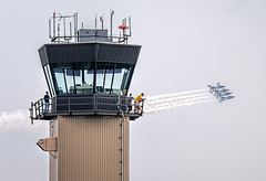 Control Tower Flyby (Wes Iversen) Tags: clichesaturday hcs michigan thunderovermichigan usafthurnderbirds willowrunairport ypsilanti airshows aircraft airplanes contrails controltower jets men people smoke smoketrails vehicle