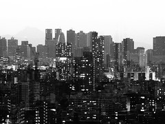 Ikebukuro + Shinjuku (minhana87) Tags: olympus omd zuiko zoom doubleexposure ikebukuro shinjuku tokyo mono bw