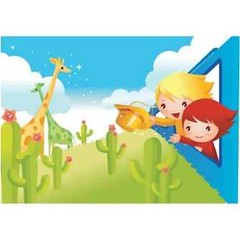 free vector kids In Train & Animals Background (cgvector) Tags: