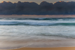 Unde the Cloudbank Sunrise Seascape (Merrillie) Tags: daybreak sunrise cloudy australia nsw centralcoast clouds sea newsouthwales rocks earlymorning morning water landscape ocean nature sky waterscape coastal seascape outdoors killcarebeach dawn coast killcare waves