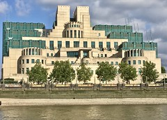 James Bond's Office... (Peter Vangeen) Tags: building jamesbond architecture river riverthames riverbank trees tree sisbuilding mi6 albertembankment iphone vauxhallcross vauxhall southlondon m