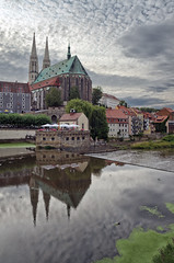 Reflection of Church St. Peter and Paul in Lusatian Neisse (ErrorByPixel) Tags: reflection sky cloud clouds zgorzelec gorlitz germny polnd church cloudy buildings water lusatian neisse staint peter paul lower silesia river building