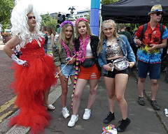 Hearts on fire (Andy WXx2009) Tags: people outdoors festival streetphotography candid cardiff wales europe mardigras gay dragact gaypride wigs friends teenagers crossdressing man women fashion femme girls sunglasses hat sneakers blonde denim tightfit beauty sexy legs miniskirt style cosplay fancydress