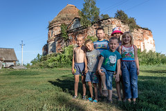 Village children. (Oleg.A) Tags: ruined saintnicolaschurch building cathedral church old brick outdoor rural evening dome countryside blue orange russia penzaregion summer orthodox style architecture exterior design ancient materials staryakutlya catedral outdoors staryykutlya penzenskayaoblast ru