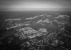 My Hometown (1 of 1) (Janne Räkköläinen) Tags: cityview cityriver city finland fin hämeenlinna hameenlinna citycentre fromsky sky blackwhite bnw bw artistic oldstyle river vanajavesi vanaja amateur amateurphotography amateurphotographing canon canon6d canonphotography canonphotographing ef24105l hot hotairballoon day summer 2018 july buildings houses
