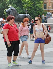 Contrasts (Waterford_Man) Tags: girls shorts bare midriff people path candid london
