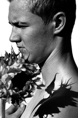 (2nd Sight Photography) Tags: portraiture face art artistic conceptual bw bnw blackandwhite flower sunflower 2ndsightphotography shadow londonphotographer monochrome canon 7d 100mm prime eos