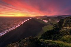 Never-ending (inkasinclair) Tags: dyrholaey sunset iceland vik south coast black beach coastline clouds colour cliffs neverending