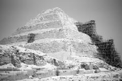 Saqqarah (Dimitri Tenezakis) Tags: egypt ancient monument saqqarah pyramid architecture archaeology bw nb blackwhite noirblanc