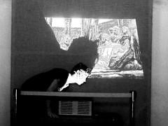 Vandalisme/sorcellerie (1) (George Lion) Tags: spain espagne espana grenade granada mad folie loco primitif primitive vandalism noise perception damaged abstract cinema projection noir et blanc nb bw negro y blanco black white light lights shadow shadows chaos