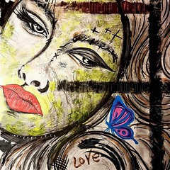 Madame Butterfly (franck.sastre) Tags: art painting pictures madame mariposa red black colors butterfly streetart ojos labios