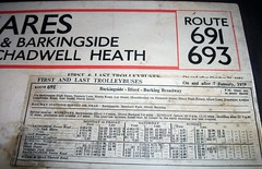 London transport trolleybus route 691 Fare Chart. (Ledlon89) Tags: londontransport lt lte london transport 1950s 1952 1959 bus buses trolleybus trolleybuses busfares busroutes oldlondon