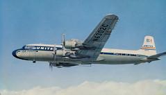 Pride Of The Fleet, DC-7, United Airlines (SwellMap) Tags: postcard chrome vintage transportation train plane boat roadside