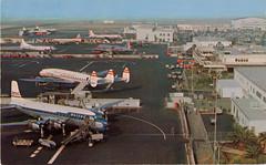 Los Angeles International Airport, California (SwellMap) Tags: postcard chrome vintage transportation train plane boat roadside