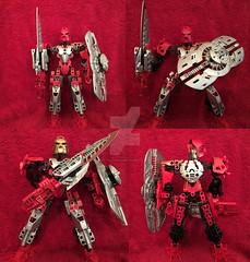 Lost Glatorian: Toa Flaris (ArmoredToa) Tags: lego bionicle toa glatorian fire warrior sword titan shield armor gold mask power kanohi painted custom moc bustersword