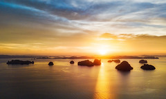 Floating Over Krabi (Stuck in Customs) Tags: krabi stuckincustomscom thailand treyratcliff quadcopter dji mavic pro platinum stuckincustoms flight sunset island islands hdr reflection blue yellow clouds ocean sea