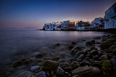 Dawn at Little Venice (lfeng1014) Tags: bluehour lifeng travel ef2470mmf28liiusm canon5dmarkiii 10seconds longexposure landscape water sea ocean rocks aegeansea greece greekisland greeceisland mykonos dawnatlittlevenice littlevenice sunrise dawn