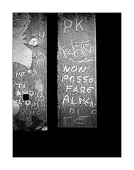 Written on the window (Franco & Lia) Tags: argentiera sardegna sardinia abandoned abandonment abbandonato scritte vetro finestra window graffiti contrasto contrast biancoenero blackwhite noiretblanc schwarzundweiss