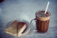 Cham and Toast (Jon Siegel) Tags: nikon d810 50mm nikkor 12 nikkor50mmf12ais cham coffee tea toast kaya butter breakfast ahwengkohhainanteacoffee kualalumpur malaysia kl