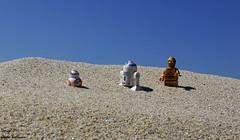 Las aventuras de R2D2, BB8 y C3PO (Ismael Owen Sullivan) Tags: foto fotografia photography nikon d5300 digital r2d2 c3po bb8 lego legostarwars sand starwars minifiguras minifigures legión501 star wars macro macrografia macrofotografia blue