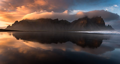 Alive (inkasinclair) Tags: vestrahorn iceland coast mountain reflection sunset ring road beach waves