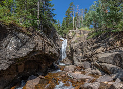 Chasm Falls wide view (Pejasar) Tags: rockymountainnationalpark colorado oldfallriverroad chasmfalls waterfall rock wideview landscape beauty mountains water vacation green trees forest blue sky