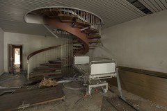Wonderful Staircase...in a trashed, little hospital (notanaddict321) Tags: stairs stairway escalier abandoned urbanexploration verfall destroyed désaffecté leer lost abandonné hospital hopital krankenhaus