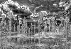 Fantastic Fountains! (Explored 17.9.18)😀 (LeanneHall3 :-)) Tags: blackandwhite mono fountains waterfountains hullcityhall hull kingstonuponhull queenvictoriasquare sky clouds canon 1300d landscape explored flickrexplore inexplore