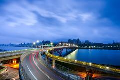 山竹GG天(DSC_7566) (nans0410(busy)) Tags: taiwan newtaipeicity bridge guandubridge cartrack cloud balidistrict sky sunrise 台灣 新北市 八里區 關渡橋 車軌 山竹颱風 晨曦