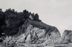 Rocks at Lee Bay Ilfracombe Devon 1950 (Bury Gardener) Tags: bw blackandwhite oldies old snaps scans england uk britain 1950s 1950 monochrome mono devon