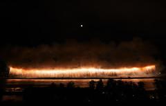 A wide fall of fireworks under a full moon: fireworks in Gifu (2) (takashi muramatsu) Tags: gifu japan fireworks full moon nikon d850 長良川花火 岐阜花火 花火 岐阜 長良川 ナイアガラ