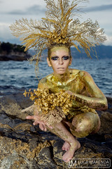 "TEATRONATURA ""Gold in the Sea"" (valeriafoglia) Tags: italy gold golden glitter sea stone creature bodypainting art atmosphere amazing fantasy stylist style surreal summer model makeup magic nature wild beautiful beauty photography photo pretty"