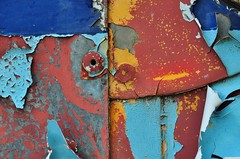Rusty Bus (holly hop) Tags: macromonday macro macromondays colours paint rust rustyandcrusty abstract peelingpaint multicolour automotive rivets colourful sedge808sfaves