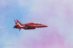 Red Arrow at Eastbourne Airbourne flying through the coloured smoke from his team mates (PeterBrooksPhotography) Tags: 200500 airborne d500 eastsussex eastbourne nikon peterbrooksphotography plane redarrows season southdowns summer sussex uk aviation beach habitat sea sky ©peterbrooks